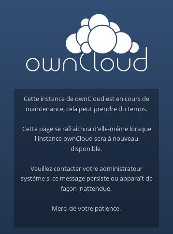 image du bug owncloud suite à une mise à jour