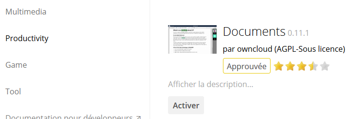 owncloud activer plugin gestion documents
