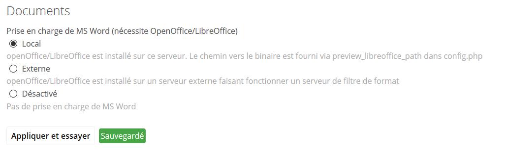 owncloud configurer libreoffice